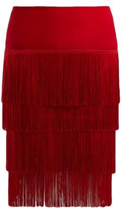 Norma Kamali Fringed Tiered Skirt - Womens - Red