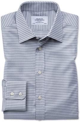Charles Tyrwhitt Slim Fit Large Puppytooth Light Grey Cotton Dress Shirt Single Cuff Size 15.5/35