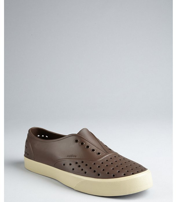 Native beaver brown perforated rubber 'Miller' loafers
