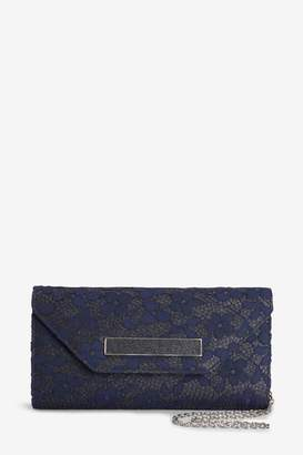 Next Womens Navy Lace Clutch Bag - Blue