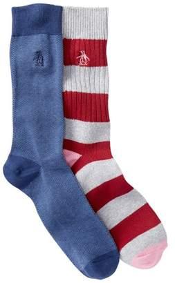 Original Penguin Assorted Printed Crew Socks - Pack of 2
