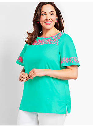 Talbots Embroidered Flutter-Sleeve Top