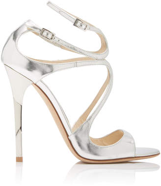Jimmy Choo Lang Asymmetric Mirrored Leather Sandals