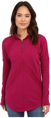 Mod-o-doc Slub French Terry 1/4 Zip Funnel w/ Angle Contrast Panels $96 thestylecure.com
