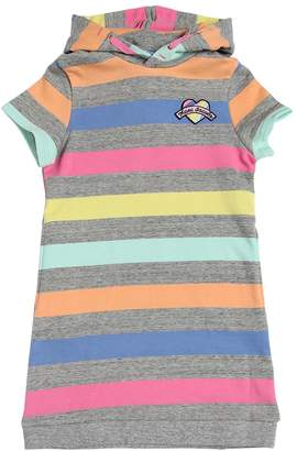 Little Marc Jacobs Hooded Striped Cotton Sweatshirt Dress