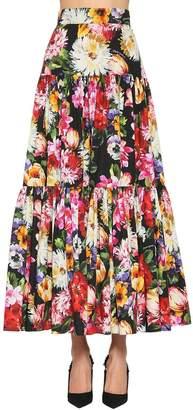 Dolce & Gabbana Floral Print Cotton Poplin Maxi Skirt