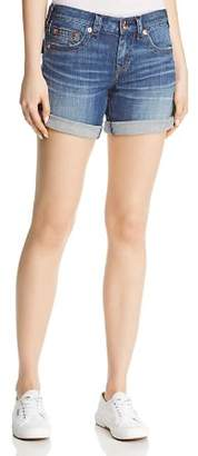 True Religion Jayde Flap Mid-Rise Denim Shorts in Hardwire Blue