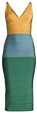 Herve Leger Women's V-Neck Colorblock Midi Dress