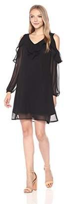 Taylor Dresses Women's Cold Shoulder Ruffle Sleeve Chiffon