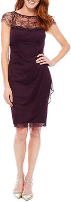 Dj Jaz DJ Jazz Cap Sleeve Beaded Neck Sheath Dress