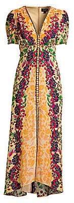 Saloni Women's Lea Floral Silk Long Dress