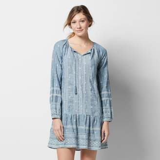 Women's SONOMA Goods for LifeTM Embroidered Chambray Drop-Waist Dress $60 thestylecure.com