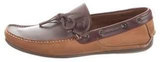 Salvatore Ferragamo Suede Square-Toe Boat Shoes