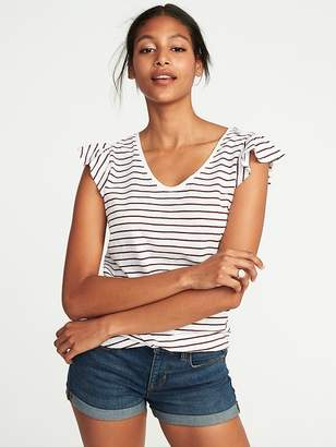 Old Navy Ruffle-Trim Voop-Neck Tee for Women