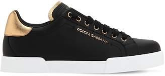 Dolce & Gabbana Portofino Leather Sneakers W/Logo Detail