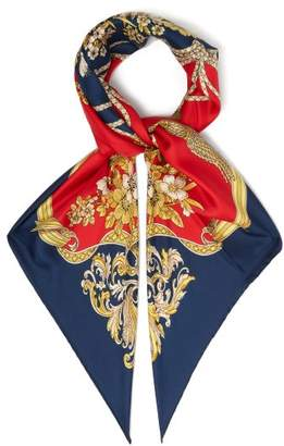 Gucci Floral Printed Silk Twill Scarf - Womens - Navy