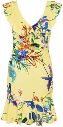 Quiz Yellow Floral Print Frill Dress
