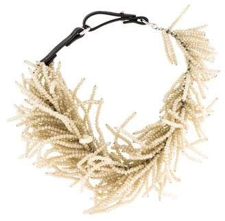 Brunello Cucinelli Crystal & Leather Choker Necklace