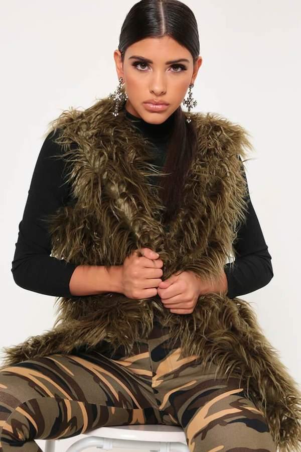 Isawitfirst Khaki Faux Fur Shaggy Longline Gilet