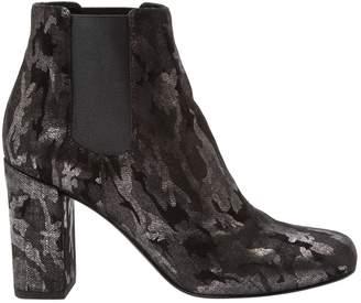 Saint Laurent Silver Suede Ankle boots