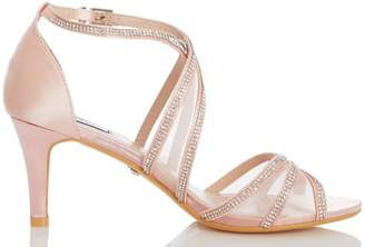 b1a126a14 Dorothy Perkins Womens  Quiz Pink Diamante Mid Heel Sandals