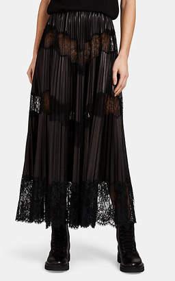 Valentino Women's Pleated Mixed-Media Midi-Skirt - Black
