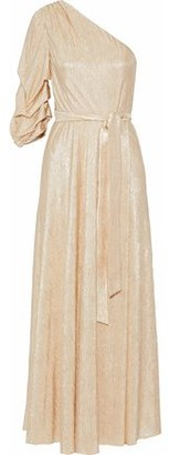 Alice + Olivia One-shoulder Metallic Cloque Gown