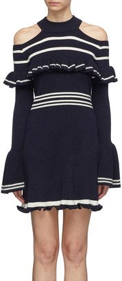 Self-Portrait Frill yoke stripe rib knit cold-shoulder dress