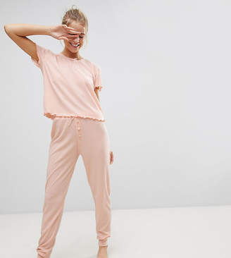 Hey Peachy Ribbed Jersey Long Pajama Set