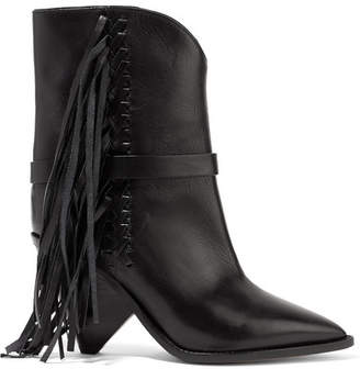 Isabel Marant Loffen Fringed Leather Ankle Boots - Black