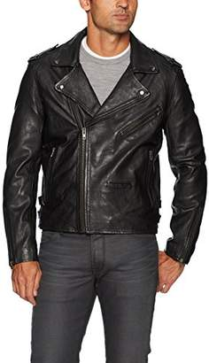 Blank NYC [BLANKNYC] Men's Cross Fade Leather Motorcycle Jacket Outerwear