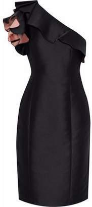 Badgley Mischka One-Shoulder Ruffled Duchesse-Satin Dress