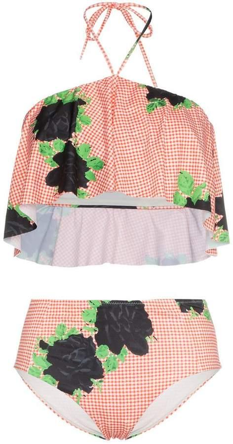 check print high waist bikini with floral print