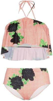 Ganni check print high waist bikini with floral print