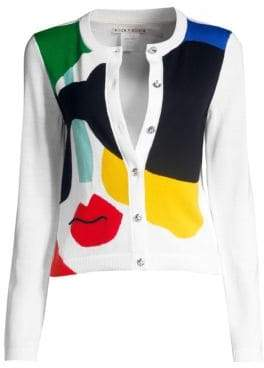 Alice + Olivia Ruthy Stace Colorblock Face Cardigan