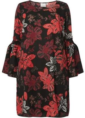 Dorothy Perkins Womens **Juna Rose Black Floral Print Flute Sleeve Shift Dress