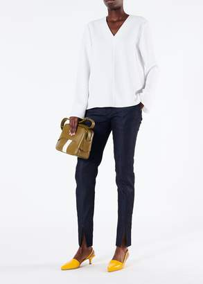 Tibi Drape Twill Leather Detail V-Neck Top