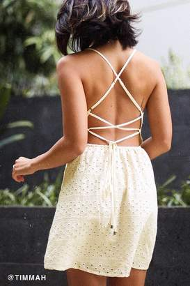 Urban Outfitters Twin Leaf Eyelet Mini Dress