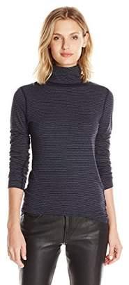 Three Dots Women's L/s Turtleneck 2x1 Jersey Stripe