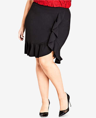 9ae8bd15d8b City Chic Trendy Plus Size Ruffled Faux-Wrap Skirt