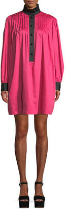 Marc Jacobs Ruffle-Collar Bicolor Long-Sleeve Cotton Pleated Shift Dress