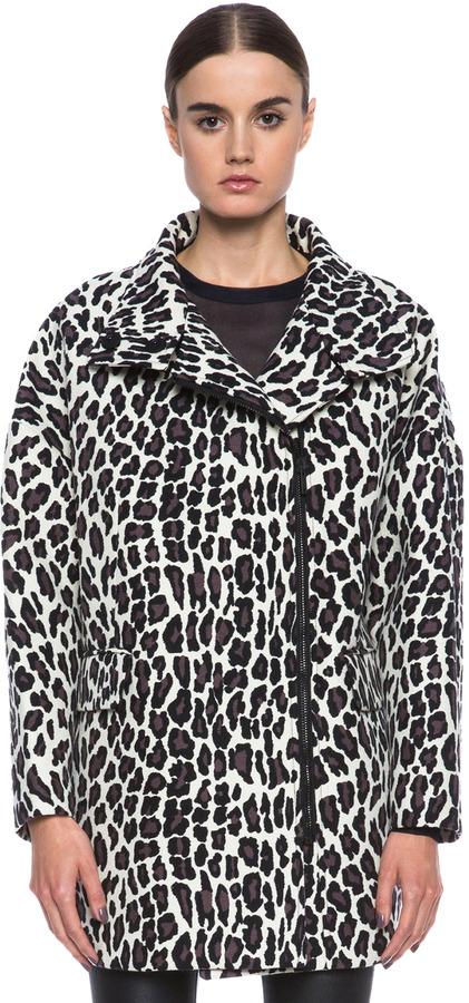 MSGM Animalier Wool Coat in Leopard