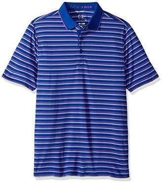 Cutter & Buck Men's Moisture Wicking Quest Stripe Tipped Collar Pique Polo Shirt