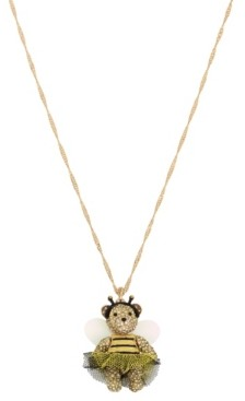 Betsey Johnson Bumble Bee Pave Bear Pendant Long Necklace