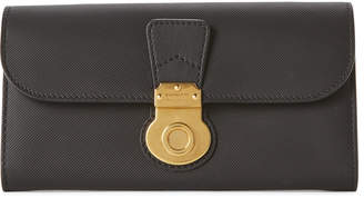 Burberry Black Leather Flap Continental Wallet