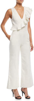 Alexis Sachi Sleeveless Flared-Leg Linen Jumpsuit