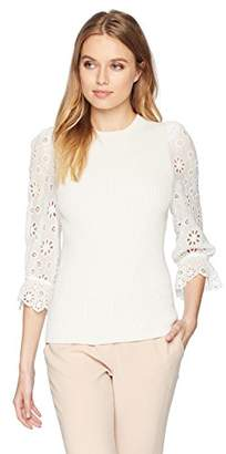 Rebecca Taylor Women's Eyelet Sleeve Pullover