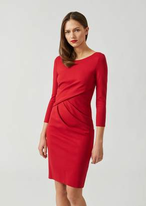 Emporio Armani Milano Rib Dress With Overlapping Pleats