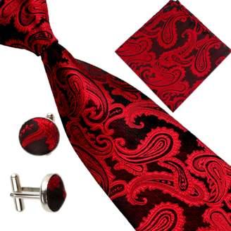 HERRICO Men's Fashion Paisley Jacquard Necktie Set Tie + Handkerchief + Cufflinks