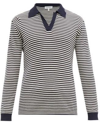 Odyssee - Breton Striped Long Sleeve Cotton Polo Shirt - Mens - Navy Multi